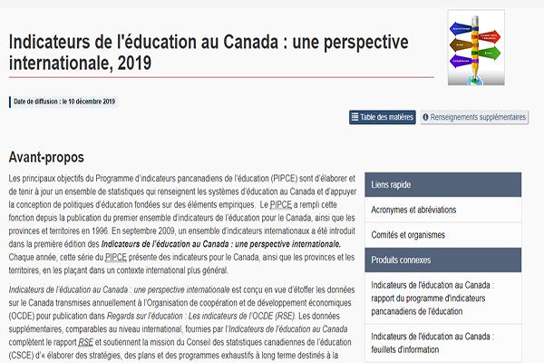Indicateurs de l'éducation au Canada