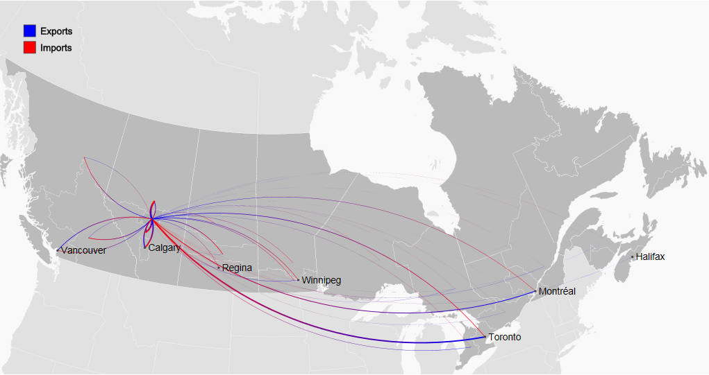 map of domestic regional trade flows in Canada to and from Edmonton