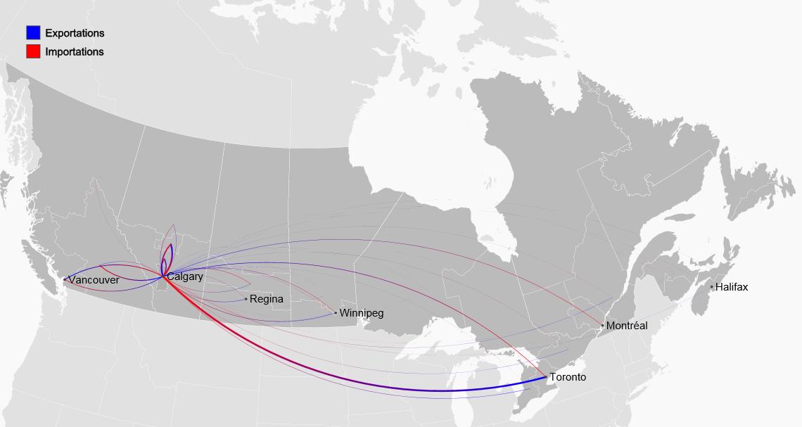 Structure des échanges interrégionaux : Edmonton