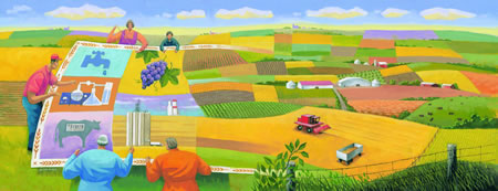 Reproduction of the painting commissioned for the cover of Canadian Agriculture at a Glance