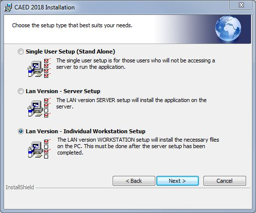 Select Installation Type LAN Individual Workstation.