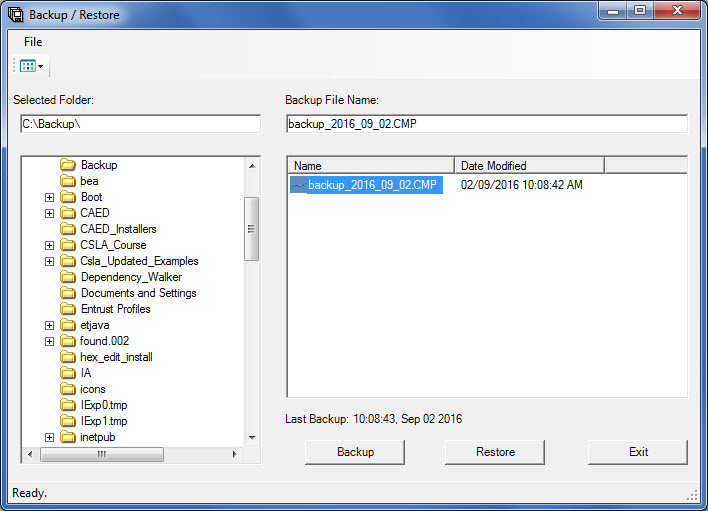 Window showing how to restore the CAED database using the backup/restore utility.