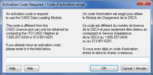 Window displaying the Activation Code Required screen that appears once you open the DLM for the first time.