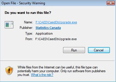 Window of a security alert when attempting to run the CAED installation Program.