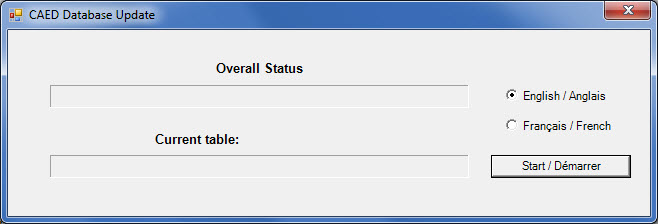Window showing the progress of the CAED database update.
