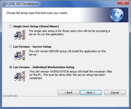 Select Installation Type LAN Individual Workstation.