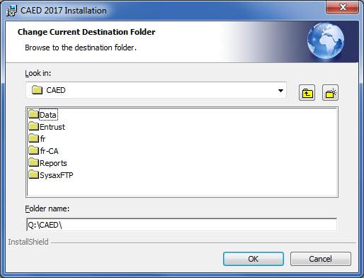 Change Current Destination Folder Browse.