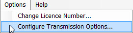 Window showing where to configure the transmission options by accessing it through the Options tab within the software.