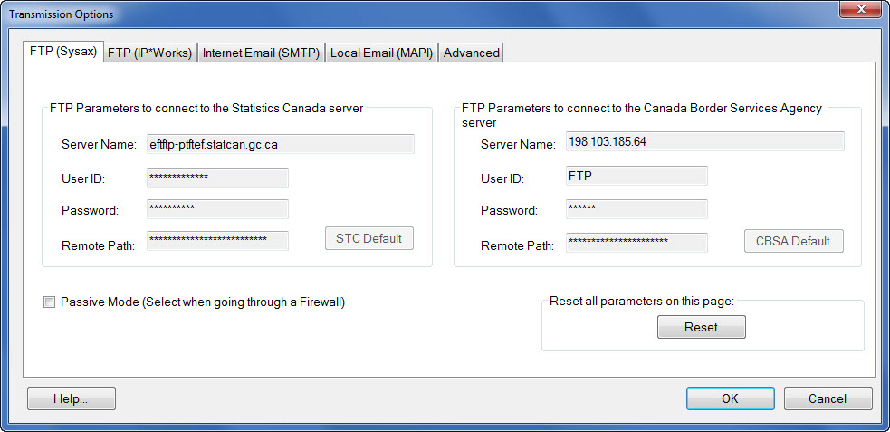 Window displaying the FTP (Sysax) transmission protocol options.