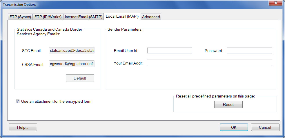 Window displaying the Local Email (MAPI) transmission protocol options.