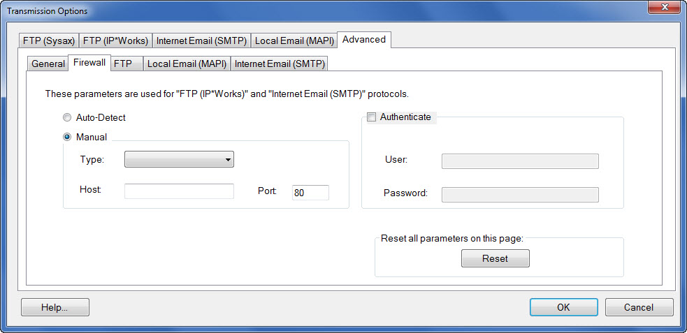 Window showing the advanced Firewall settings tab accessible under the transmission options button.