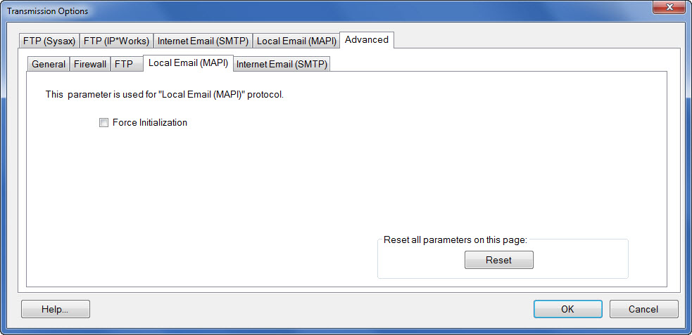 Window showing the advanced Local Email (MAPI) settings tab accessible under the transmission options button.