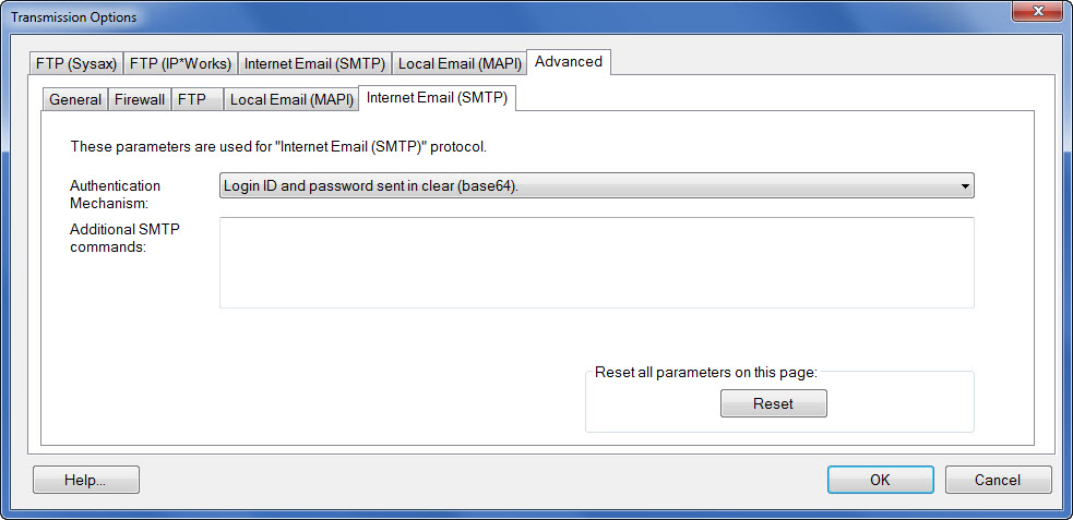 Window showing the advanced Internet Email (SMTP) settings tab accessible under the transmission options button.