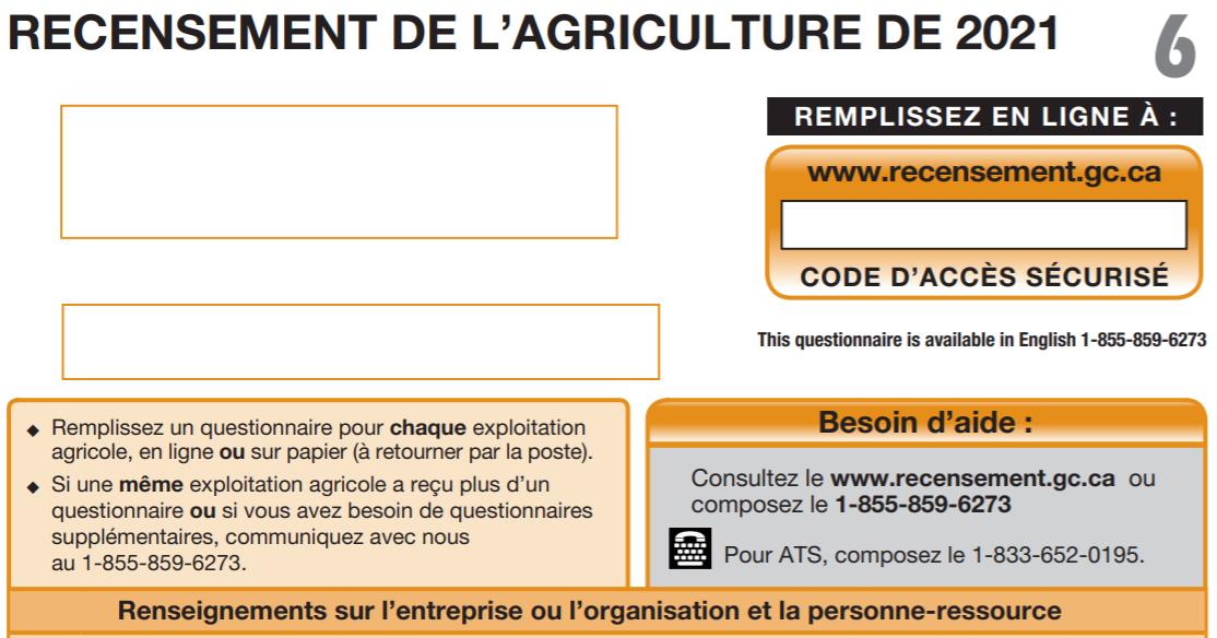 Recensement de l'agriculture - Questionnaires