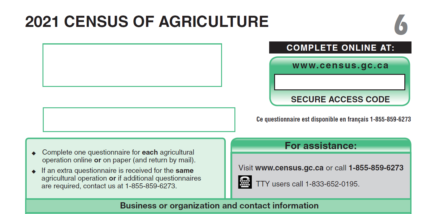 2021 Census of Agriculture questionnaire