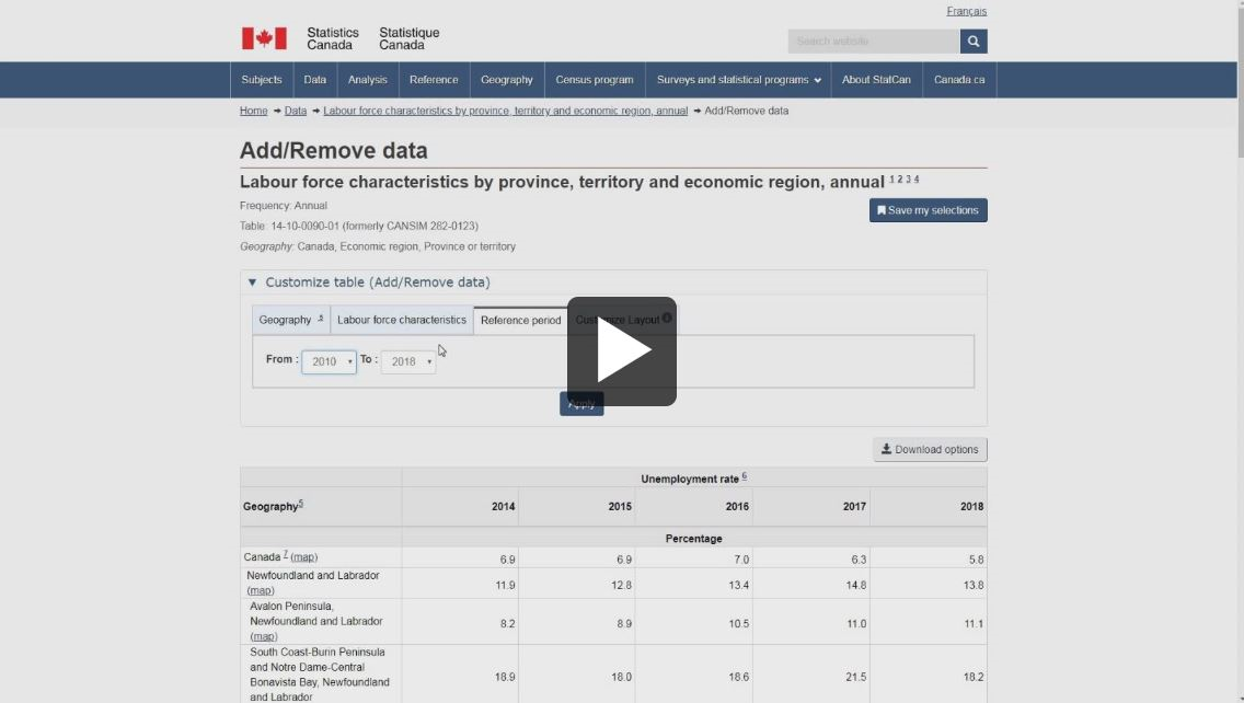Screen capture: Data tables - video thumbnail