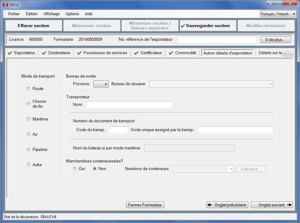 La fenêtre affichant la section «Autres détails d'exportation» du formulaire de déclaration d'exportation.