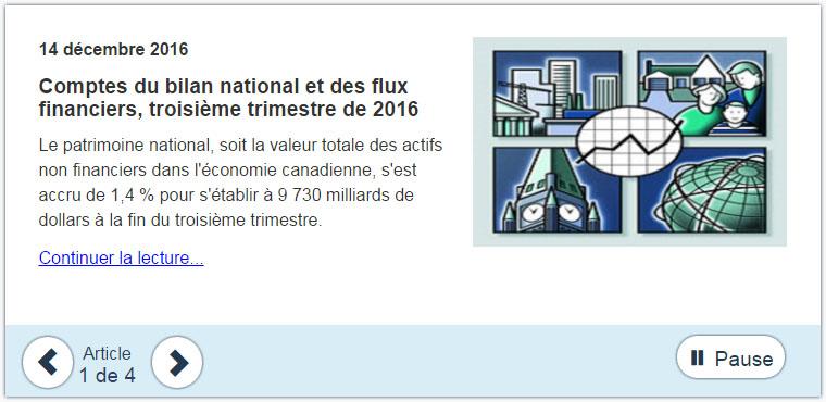Exemple d'une publication de « Le Quotidien » présentée sur le carrousel de la page d'accueil