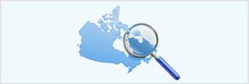 Carte de l'Amérique du Nord, le Canada étant représenté en bleu.