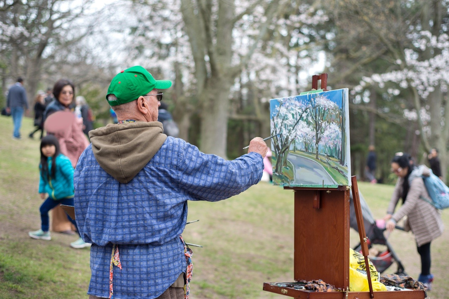 A man is painting the blossoming cherry trees on a canvas in a Toronto park. He is surrounded by people walking or peeking at what he is doing.