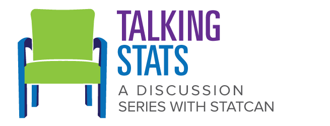 A chair with the following text: Talking Stats: A discussion series with StatCan