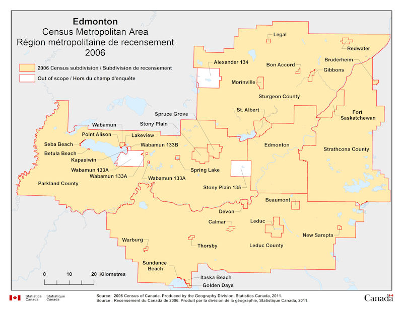 Map Of Edmonton Area Geographical map of 2006 Census Metropolitan Area of Edmonton, Alberta