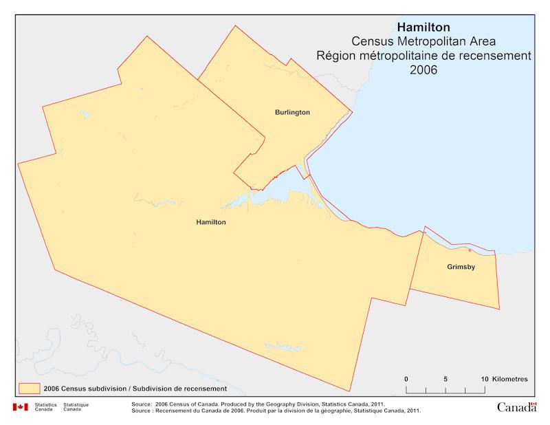 Hamilton Ontario Canada Map.Geographical Map Of 2006 Census Metropolitan Area Of Hamilton Ontario