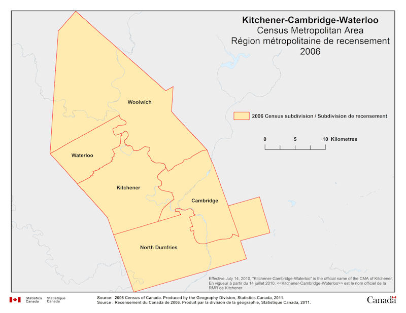 Map Of Canada Kitchener.Geographical Map Of 2006 Census Metropolitan Area Of Kitchener