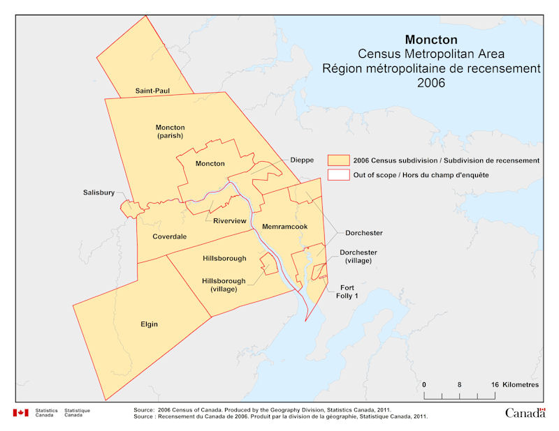 Geographical Map Of 2006 Census Metropolitan Area Of Moncton New