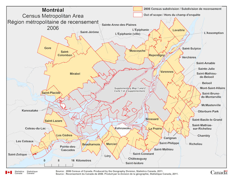 Carte Du Canada Montreal.Geographical Map Of The 2006 Census Metropolitan Area Of Montreal