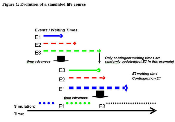 Figure 1: Evolution of a simulated life course
