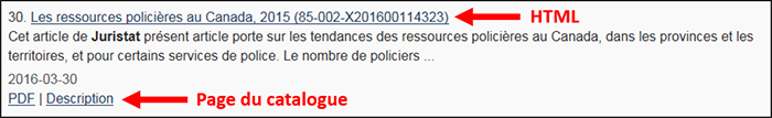 Copie d'écran : Versions HTML/PDF