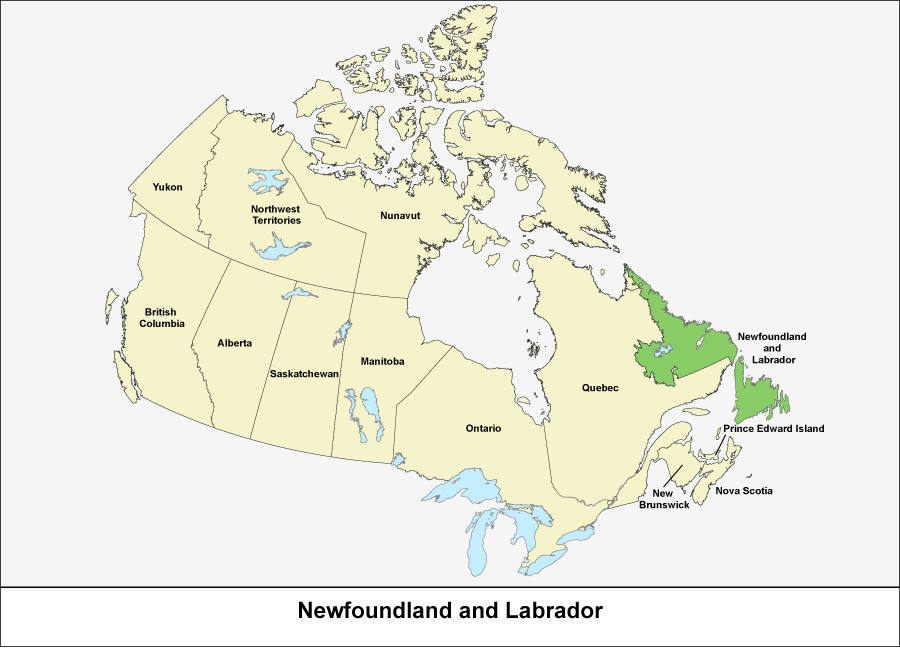 Map of Canada showing the province of Newfoundland and Labrador in green