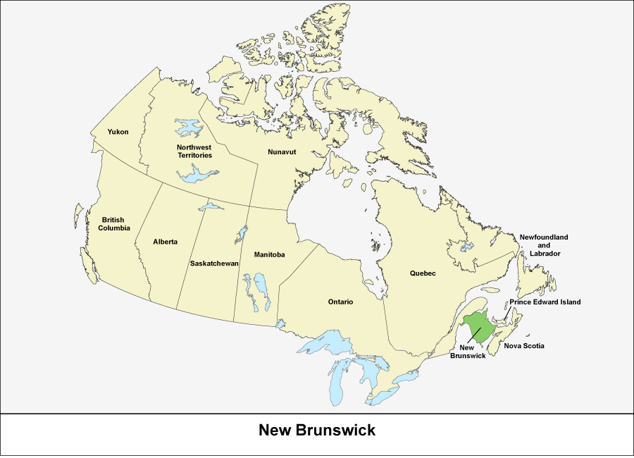 Map of Canada showing the province of New Brunswick in green