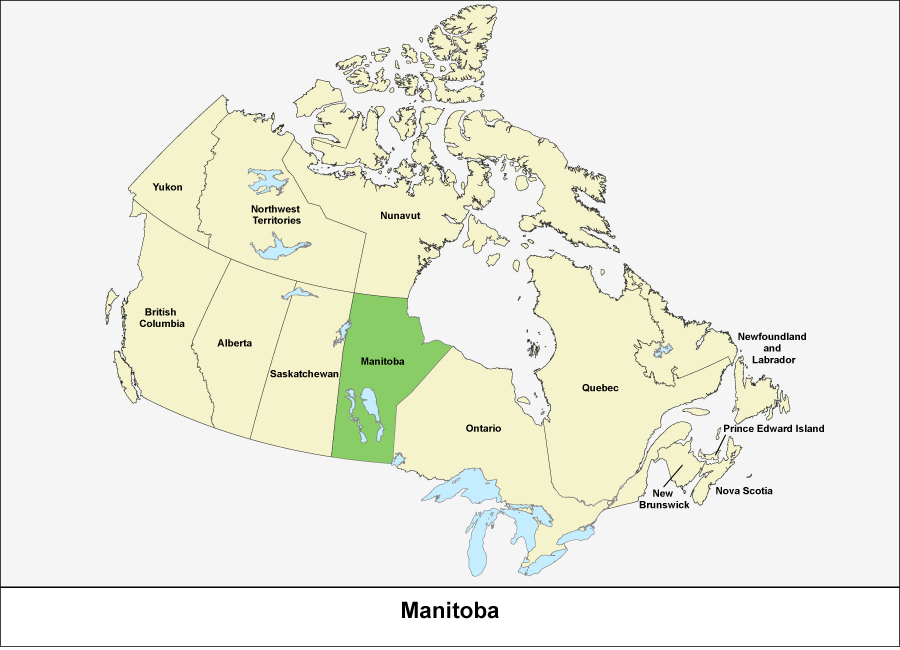 Carte Canada Manitoba.Manitoba