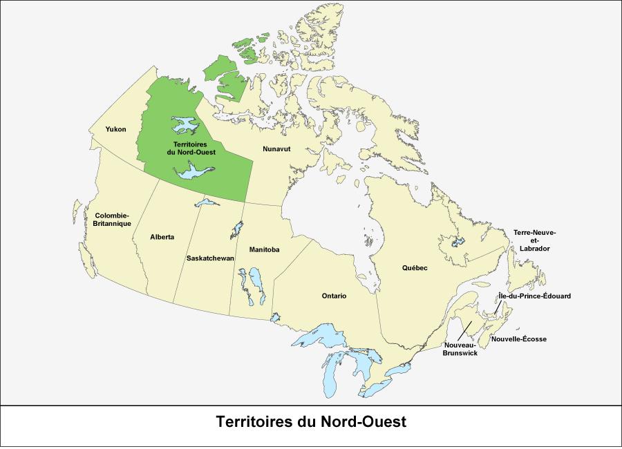 Carte du Canada montrant les Territoires du Nord-Ouest en vert