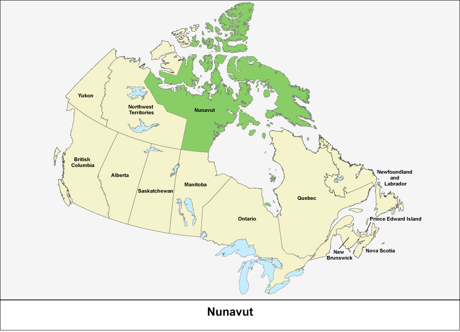 Map of Canada showing Nunavut in green