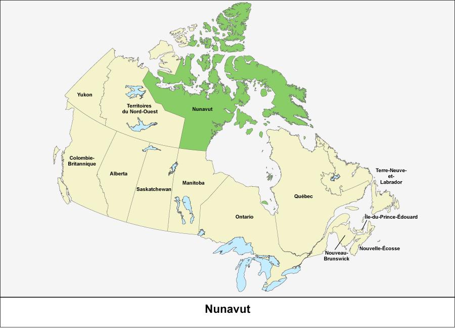 Carte du Canada montrant le Nunavut en vert