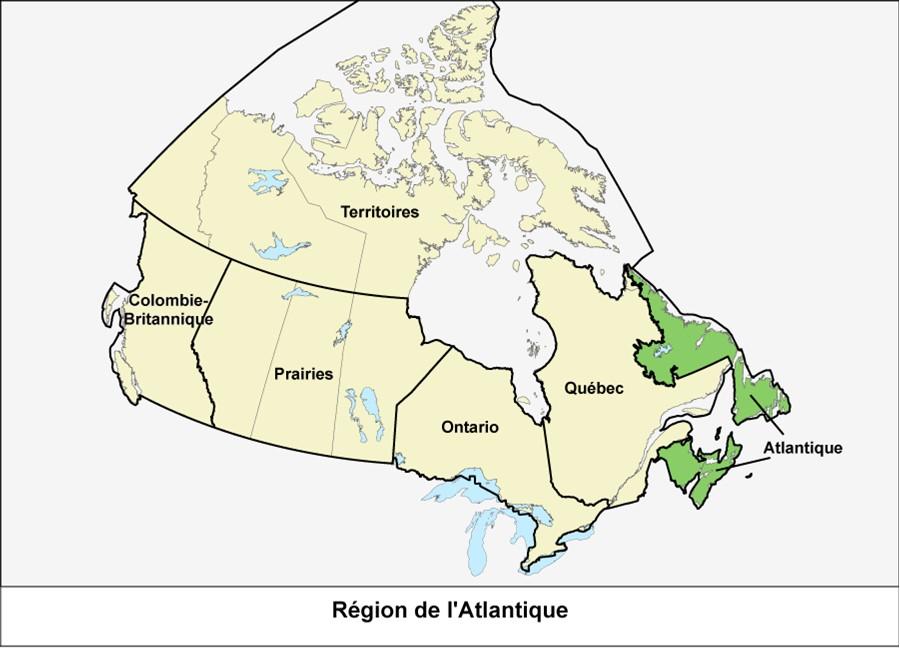 Carte du Canada montrant la région de l'Atlantique en vert.