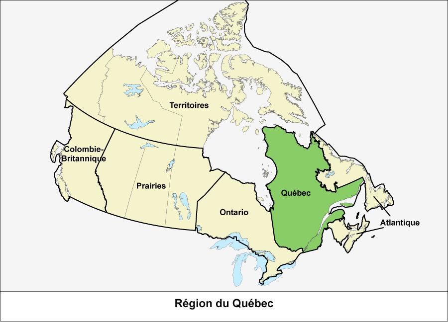 Carte du Canada montrant la région du Québec en vert