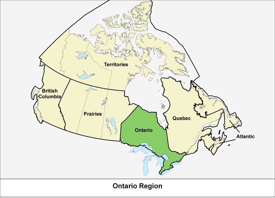 Map of Canada showing the Ontario Region in green