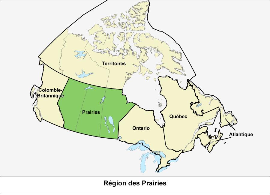 Carte du Canada montrant la région des Prairies en vert
