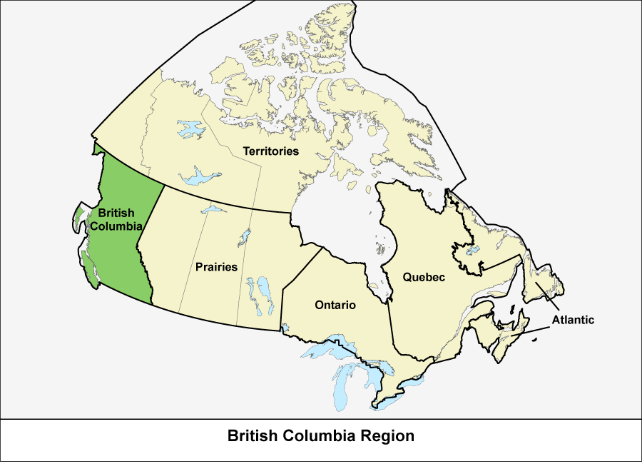 Map of Canada showing the British Columbia Region in green