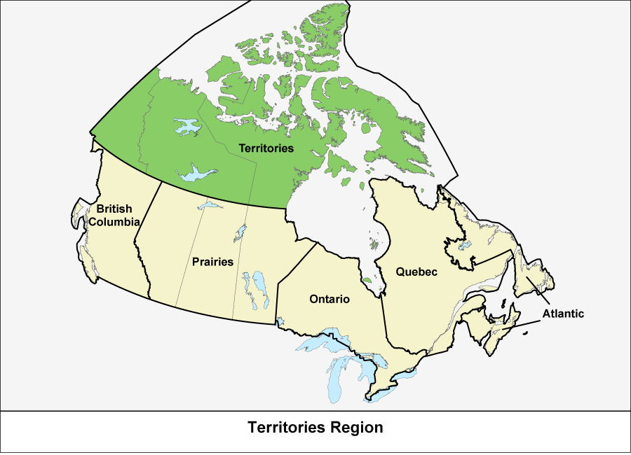 Map of Canada showing the Territories Region in green