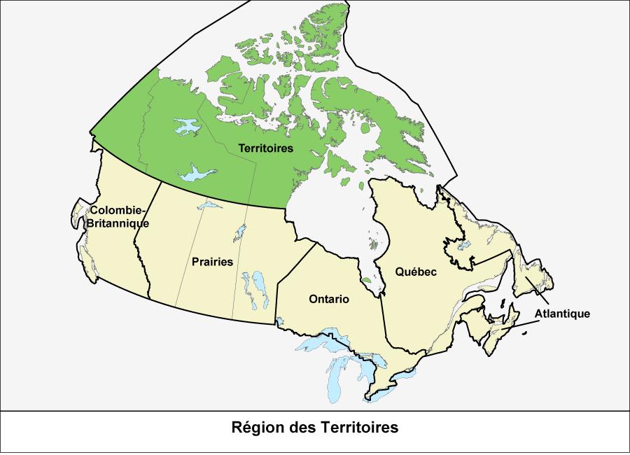 Carte du Canada montrant la région des Territoires en vert