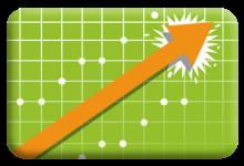 statistics symbol and arrow