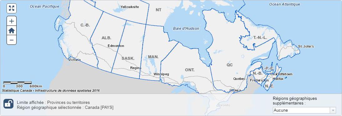 Géographie - Trouver de l'information par région ou aire géographique