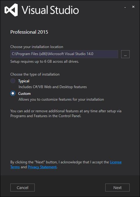 Screenshot of Installing Visual Studio 2015: Step 2