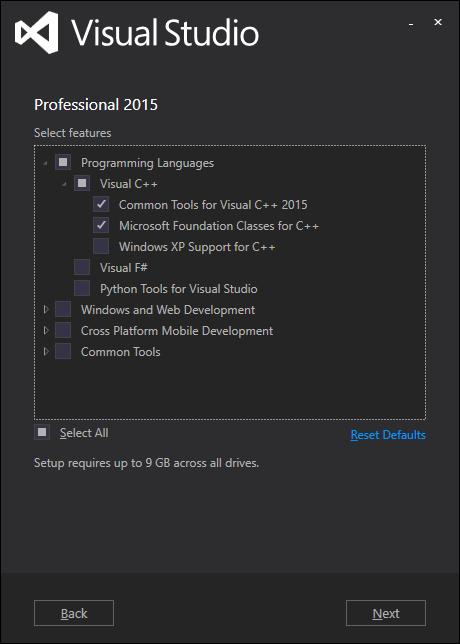 Screenshot of Installing Visual Studio 2015: Step 3
