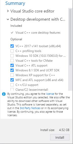 Screenshot of Installing Visual Studio 2017: Step 4